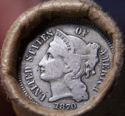 1870 3 Cent Nickel/1897 Indian Cent Great End Coins Antique Roll Shown #7507