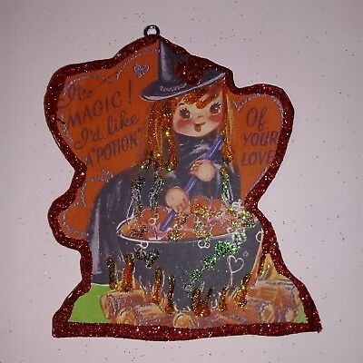 Valentine's Day Glitter Wood Ornament  Magic Potion Witch