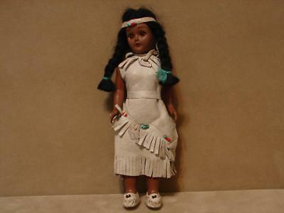 """Vintage Plastic Native American 7 1/2"""" Female Doll With Leather Outfit"""