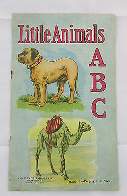 Antique Charles Graham & Co Little Animals ABC Linen Childrens Book Illustrated