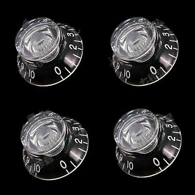 4Pcs Transparent Guitar Bass Top Hat Speed Knobs Tone volume Button for Les Paul