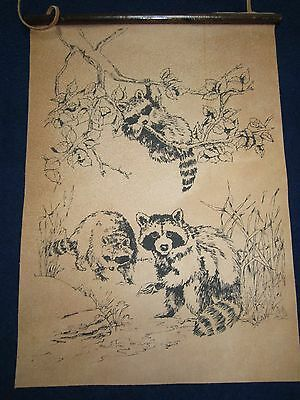 Tri Chem Raccoon Family on Leather Picture Wall Hanging to Paint #2388 NOS