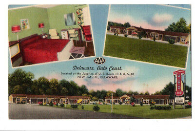 Delaware Auto Court, US 13 & US 40, New Castle, DE 1954 Linen Postcard