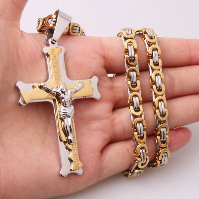 Stainless Steel Silver Gold Jesus Cross Pendant Byzantine Chain Men's Necklace