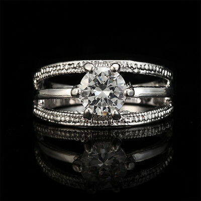 Women Elegant Crystal Flower Shape Ring For Engagement Wedding Jewelry B
