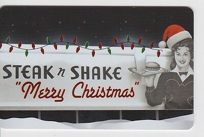 Steak N Shake Old Time Waitress Santa Hat Merry Christmas Gift Card Collectible