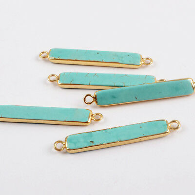 1Pcs Slim Stick Blue Howlite Turquoise Bar Connector Gold Plated For DIY HG1639