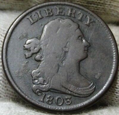 1803 Draped Bust Half Cent - Key Date, Only 92,000 Minted, Nice Coin  (5950)