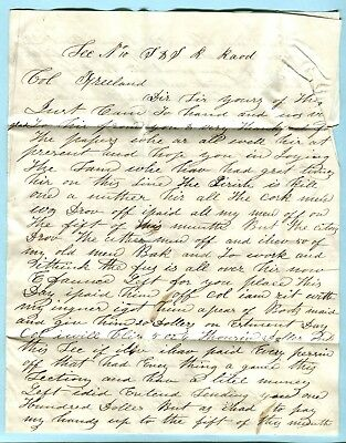 1852 OH Stampless Letter STEUBENVILLE & INDIANA RAILROAD CONSTRUCTION Freeland