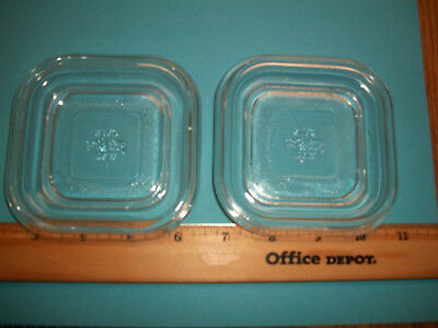 """(2) Oven Ware Fire-King 4"""" x 4"""" Square Glass Lid 19 - 10"""