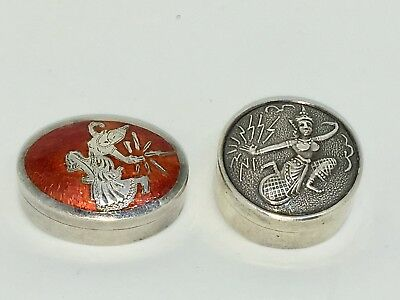 Vintage Sterling Silver Pill Snuff Box Lot Siam Enamel Dancing Goddess