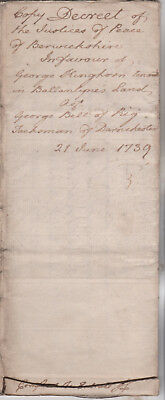 1739 Berwickshire 5 page land document Ballantyne Darnchester George Kinghorn