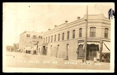 Devils Lake North Dakota Kelley Avenue Scene 1914 Rppc Postcard