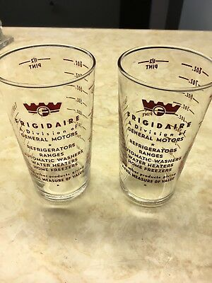 VTG 50's Advertising Premium FRIGIDAIRE  8oz Measuring Glass Cup SET of 2