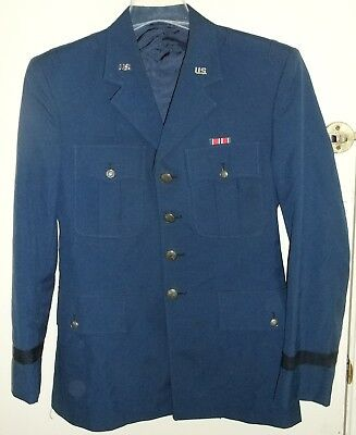 USAFA US Air Force Academy Cadet Blue Mens Service Dress Uniform Coat Jacket 38R