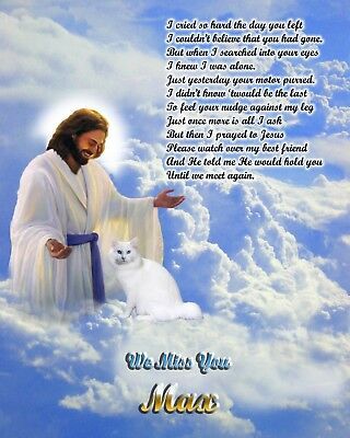 White Cat Memorial w/Jesus/Poem Personalized w/Cat's Name 2-Unique Pet-Loss Gift