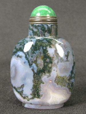 Fine Chinese Handwork Carved Natural Green Moss Agate Snuff Bottle