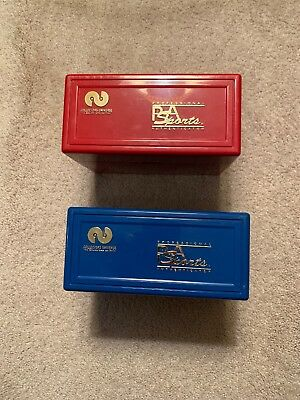 Two Psa Storage Box Holders - For Graded Cards - Holds 25-  1 Red, 1 Blue