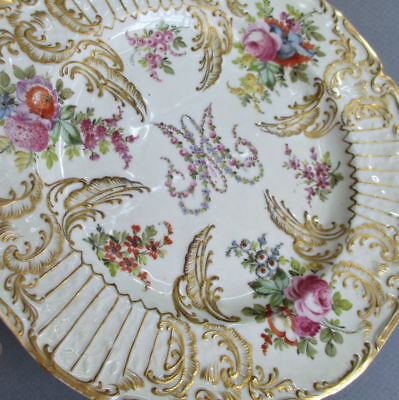 Antique 19thC French Porcelain Plate MARIE ANTOINETTE Flowers GILT Encrusted