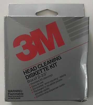 """3M Head Cleaning 3.5"""" Diskette Kit Box of 2 #12284 - NOS Vintage 1989"""