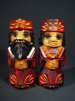 Ainu Wood Carving Man & Woman Couple Wearing Hat and Ethnic Dress