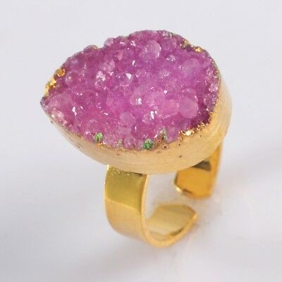 Size 7 Hot Pink Agate Druzy Geode Adjustable Ring Gold Plated H129248