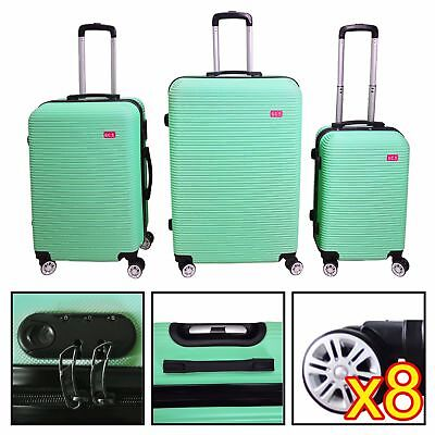 3 Piece Luggage Set Travel Bag Coded Lock ABS Trolley Spinner Carry Suitcase #7