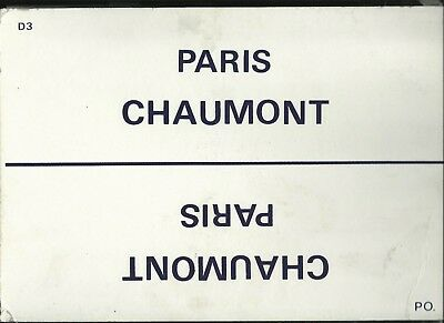 Plaque De Direction Sncf Paris-Chaumont// Culmont-Chalindrey-Paris