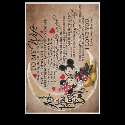 Mickey and Minnie To My Wife I Love You Forever POSPO Satin Poster 4 Sizes