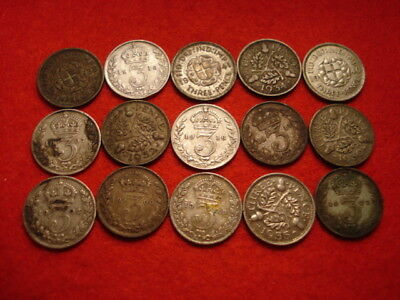 15 Different British Silver 3 Pence Coins 1900 - 1941