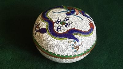 Antique Late 19th Century Chinese Cloisonné Box: White Ground w Blue Dragon