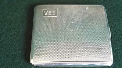 H/M Sterling Silver Cigarette Case Australian Appreciation Gift B'ham 1953 110g