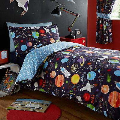 Planets Space Single Duvet Cover Set - Kids 2 In 1 Reversible Bedroom Bedding