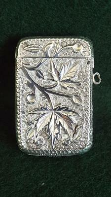 Antique Late 19th Century Heavy Sterling Silver Vesta Case Repoussé Leaf 35g