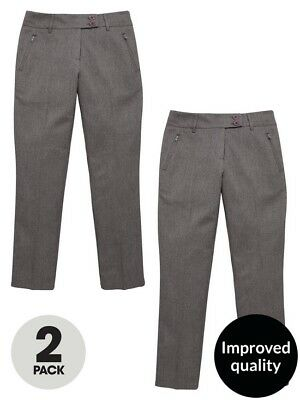 VERY Girls 2 Pairs Grey School Trousers Age 7 BNWT RRP £25