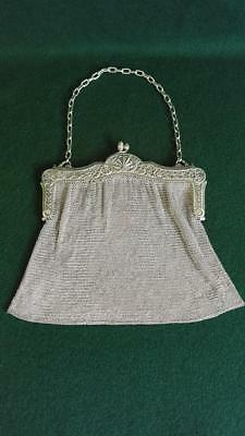 Art Nouveau American 925 Sterling Silver Chainmail Evening Bag Ornate Frame 255g