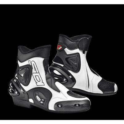 Sidi Apex Motorcycle Motorbike Short Sports Air Ventilator Boots - Black/White