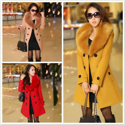 Women's Winter Double Breasted Big Fur Collar Warm Slim Waist Long Outerwear B