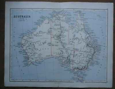 Antique MAP ~ AUSTRALIA ~ Lithographer EDWARD WELLER Longman 1888 130 YEARS OLD