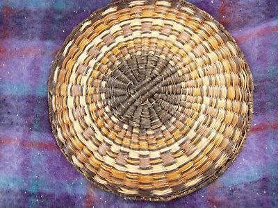 "vintage Hopi wicker tray 12"" basket plaque"