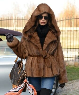 New Pastel Mink Fur Long Jacket Hood Class Sable Chinchilla Fox Coat Vest Trench