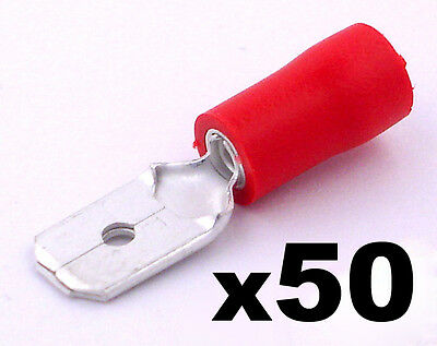 50x Red Male 6.3mm Spade Connector Insulated Crimp Terminals Electrical Wiring