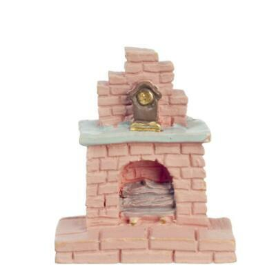 Dolls House Pink Fireplace 1:48 Scale 1/4 inch Mini Living Room Furniture