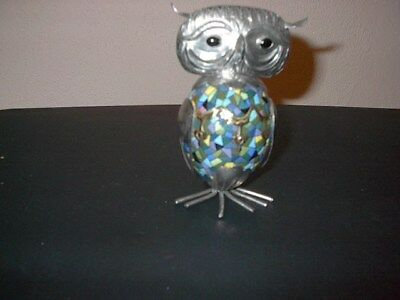"OWL FIGURE CLOISONNE & METAL PEWTER LARGE 5 1/4"" Metal Art w/ Inlaid stones"