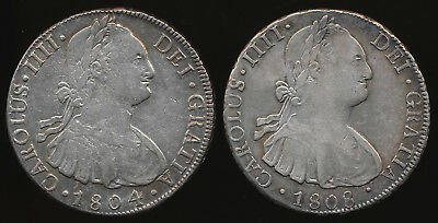 1804 & 1808 Bolivia Silver 8 Reales (Nice !!! & Guaranteed Authentic) No Reserve