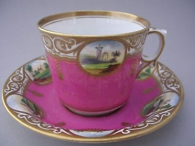 Antique Unmarked Cup And Saucer With Hand Painted Landscapes