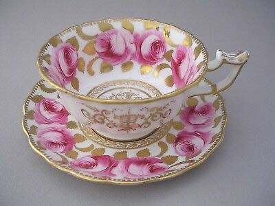 Antique Unmarked Cup And Saucer With Hand Painted Pink Roses