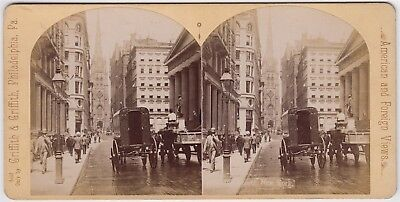 Stereoview-USA, New York City, Street scene with horse drawn traffic by GRIFFITH