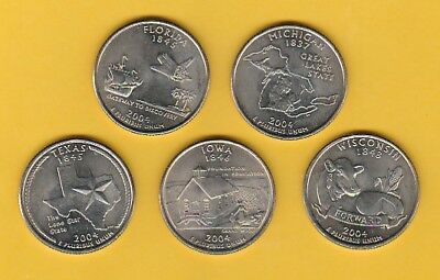 Set Of 5, 2004 Circulated Circulated American Commemorative State Quarters