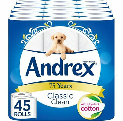 Toilet Loo Paper Tissue Rolls Andrex Classic Clean Wholesale Bulk Buy Pack Of 45